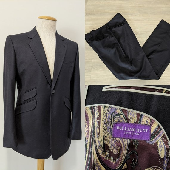 Vintage Men's Black Suit Custom Suit Bespoke Suit