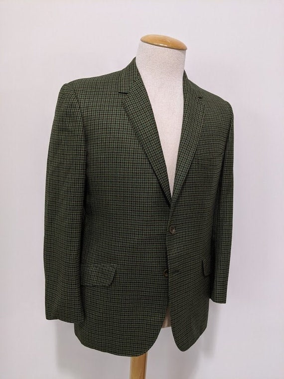 Vintage 1970's 70's Men's Green Houndstooth Suit J