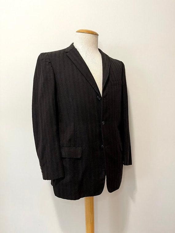 Vintage 1950's Men's Brown Wool Striped Suit Jacke