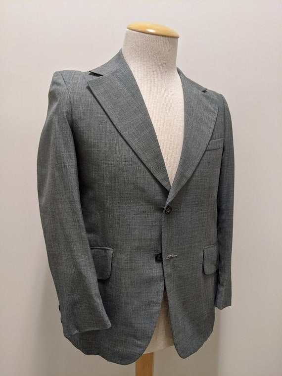 Vintage 1970's 70's Men's Grey Suit Jacket 70's Me