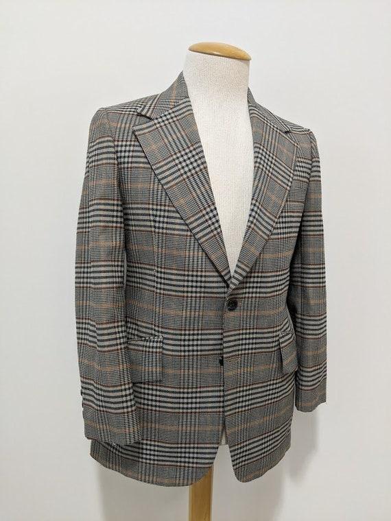 Vintage 1970's Men's Polyester Glen Plaid Suit Jac