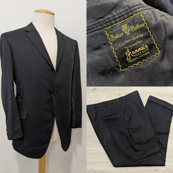 Vintage 1960's Men's Black Pinstriped Wool Busines