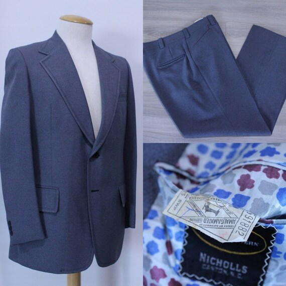 Vintage 1970's 70's Men's Grey Suit Two-Piece Suit