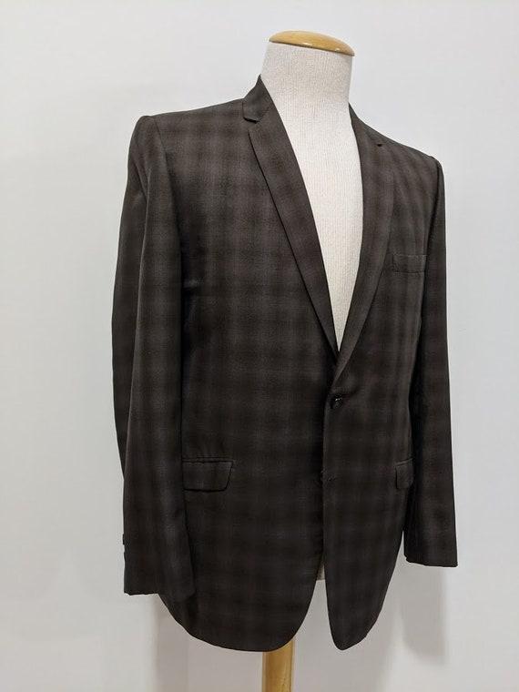 Vintage 1960's Men's Wool Plaid Suit Jacket Brown