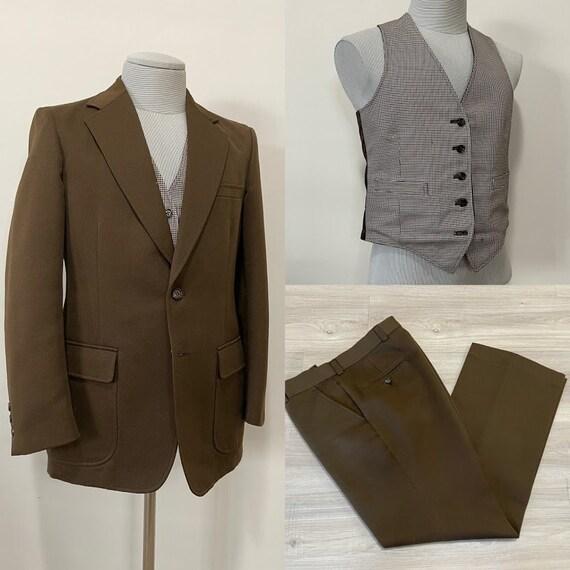 Vintage 1970's Men's Brown Polyester Three-Piece S