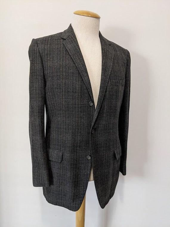 Vintage 1950's Men's Grey Wool Plaid Suit Jacket 5