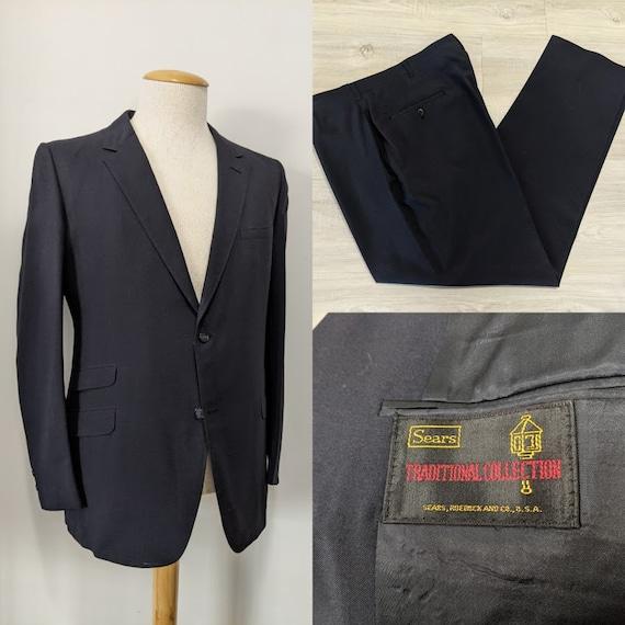 Vintage 1970's Men's Black Wool Two-Piece Suit Bla