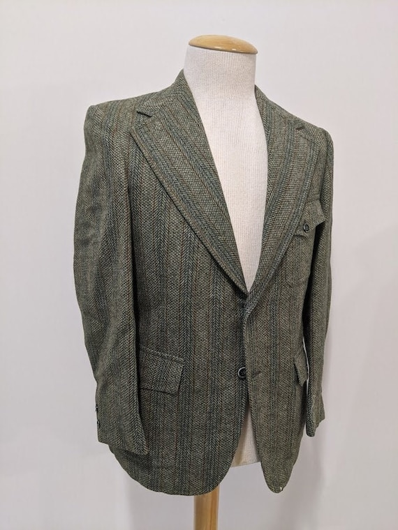 Vintage 1970's 70's Men's Herringbone Twill Wool S