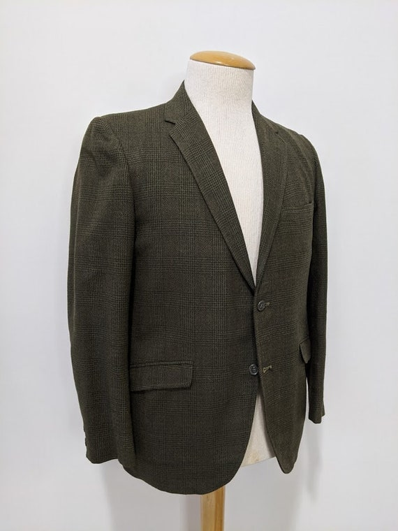 Vintage 1970's Men's Green Wool Glen Plaid Suit Ja