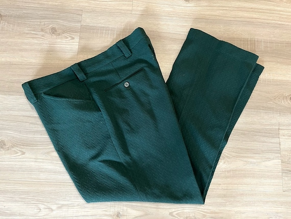 Vintage 1970's Men's Green Polyester Trousers Pol… - image 1