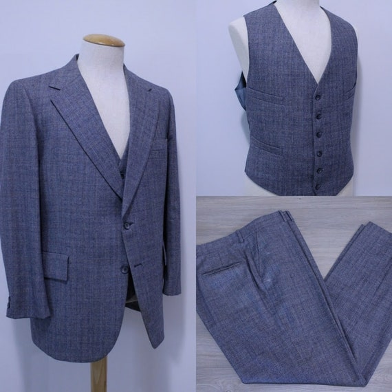 Vintage 1970's Men's Three-Piece Suit Wool Suit Gl
