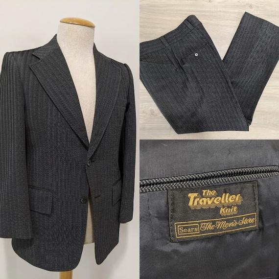 Vintage 1970's Men's Grey Herringbone Twill Suit M