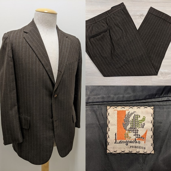 Vintage 1970's 70's Men's Wool Two-Piece Chalk Str