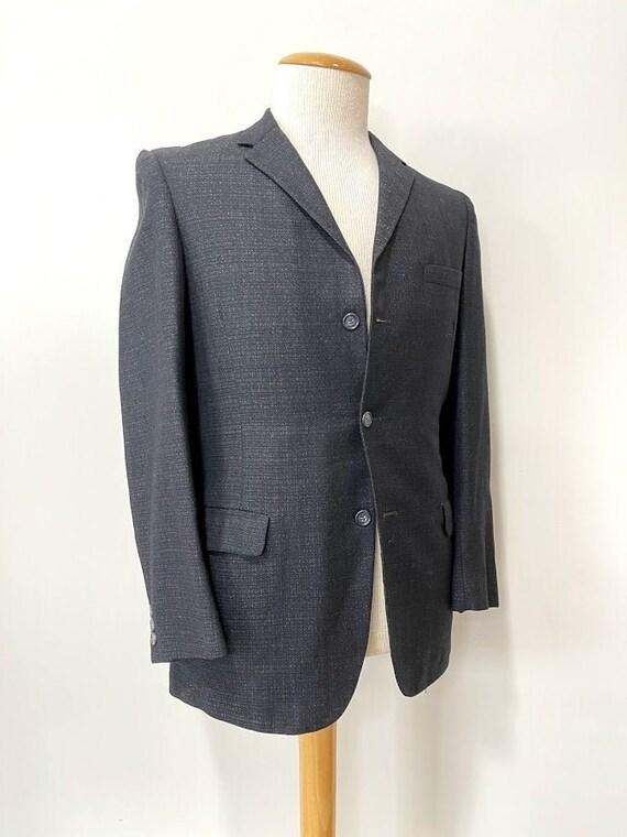 Vintage 1950's Men's Black Wool Three-Button Suit