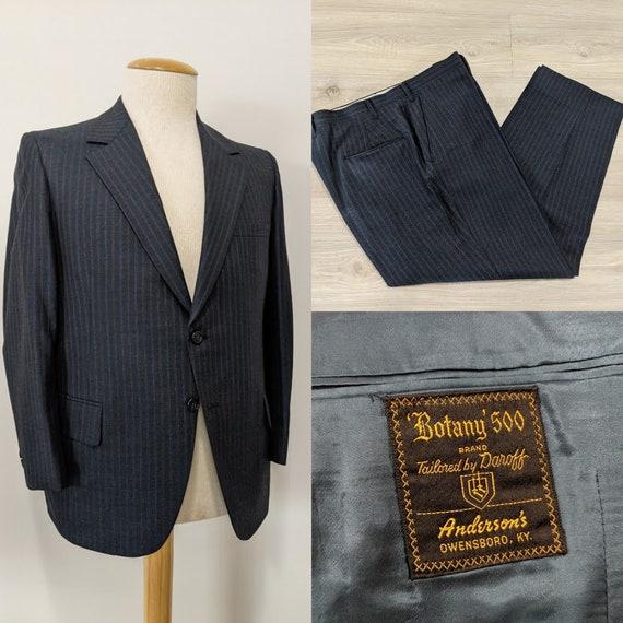 Vintage 1970's Men's Blue Wool Pinstripe Two-Piece