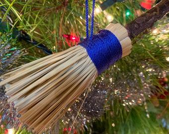 Ornament Wizard Broom, Christmas Tree Ornament, Handmade Broom, Holiday, Christmas Decor, Fantasy, Broom Ornament, Witch Broom Ornament
