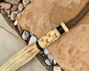 Braided Wizard Broom, Besom, Artisan Broom, Handmade Broom, Green Cording, Witch Broom, Wizard Brooms, Appalachian, Halloween Costume