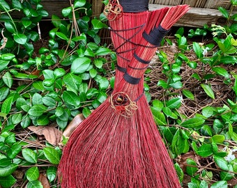 Red Black Wizard Broom, Hand Dyed Broom Corn, Broomstick, Artisan Broom, Handmade Broom, Besom Broom, Handmade Fused Glass, Halloween