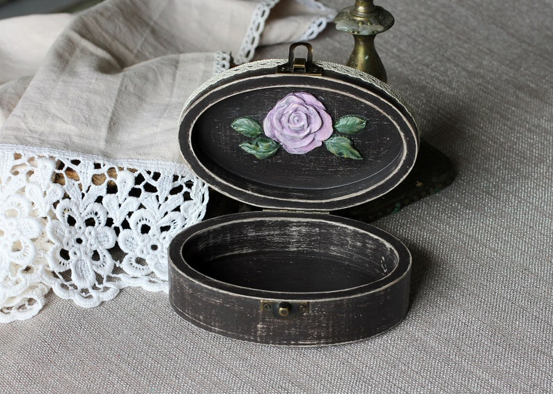 Shabby Chic wooden box flower roses handmade gift for women vintage jewelry treasure chest moulds decor