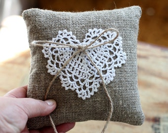 Burlap Lace Wedding Ring Pillow, Rustic Wedding Ceremony Decor, Handmade Jewelry Holder
