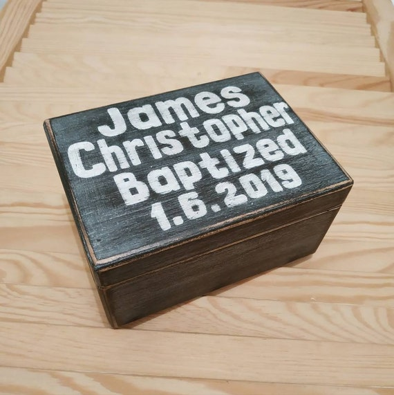 Personalised wooden memory box and photo album christening baptism present