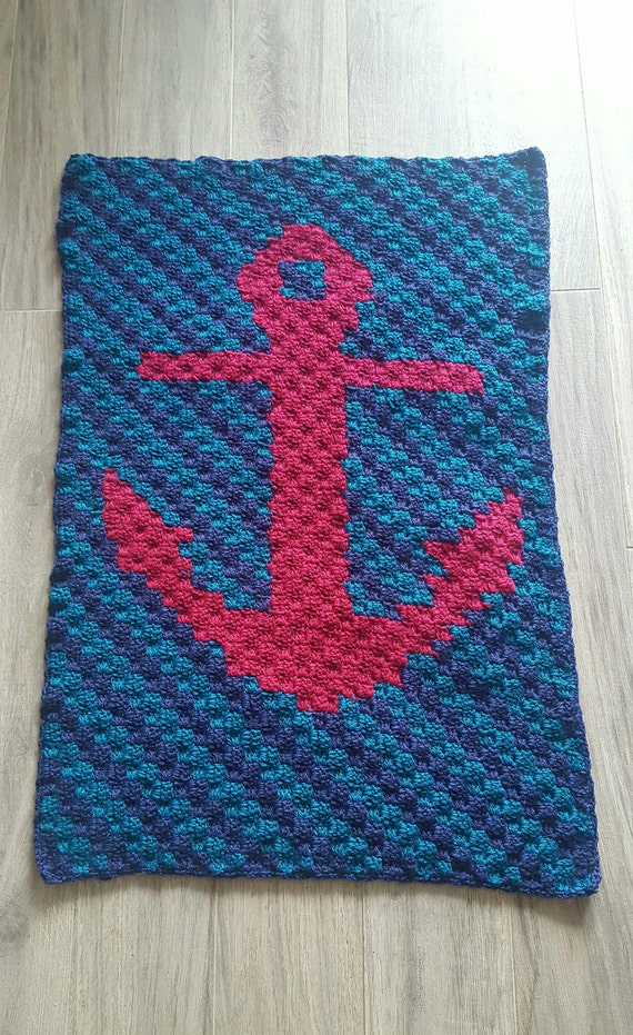 Nautical Anchor Baby Blanket Crochet Baby Blanket Etsy