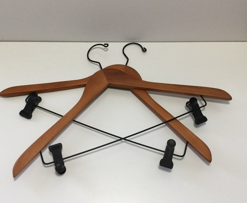 Vintage Set Of 2 Wooden Hangers With Black Plastic Clips Mens Suit Hangers Coat Hangers