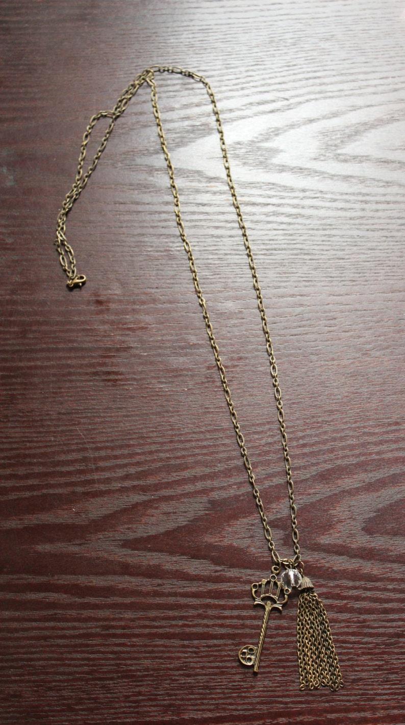 long tassel necklace charm necklace skeleton key pendant Skeleton key necklace long Skeleton key necklace