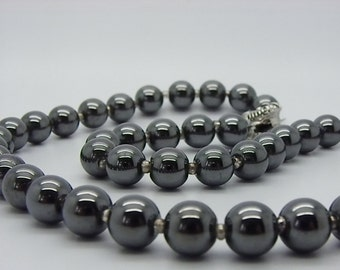 beautiful black and white stones steel 8 mm hematite necklace