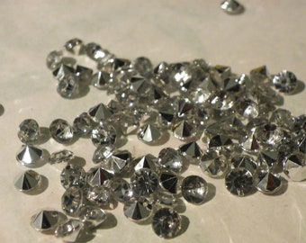50 Crystal beads faceted bicone beads natural 5mm silver