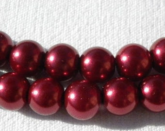 100 beads 8 mm glass Pearl Burgundy, red, 8 mm
