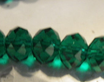 35 beads 10 mm glass crystal has faceted abacus transparent green