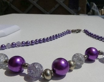 Purple Bead Necklace with 13 and 14 mm with cracked Crystal beads