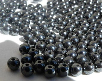 100 4 mm hematite with a beautiful shiny black 4 mm stone beads