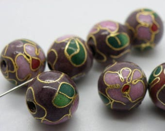 5 beads 10 mm made Indonesia manually hole 2 mm Lampwork gold flowers