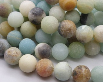 38 round 10 mm natural frosted amazonite beads