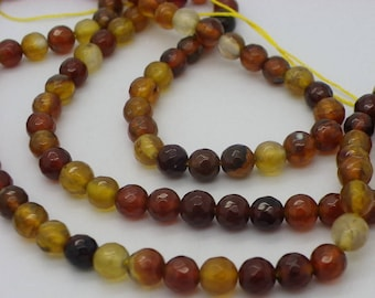 60-62 agate 6 mm Brown agate and beige.kaki 6 mm faceted sold yarn