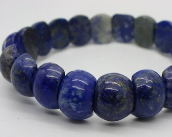 Bracelet natural lapis lazuli blue beads 14 mm