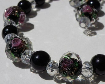 Necklace glass beads and Crystal and Lampwork with pink inclusions beads
