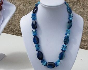 Blue agate necklace 50 cm super original necklace