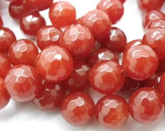 beautiful orange rust, copper has 25 beads of jade 10 mm faceted