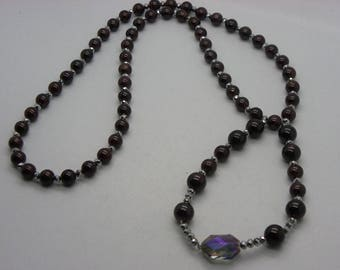 great necklace with Garnet and Crystal bordeaux 80 cm