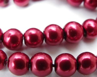 100 Pearl 8 mm red, Burgundy glass beads