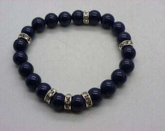 Bracelet natural lapis lazuli with blue crystal spacers