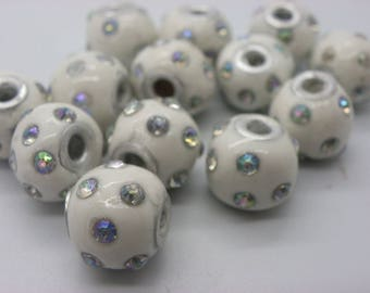 10 beads Indonesia 14 mm are manually white hole 3.0 mm lustrous rhinestones