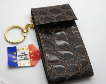 Keychain leather Croco Brown