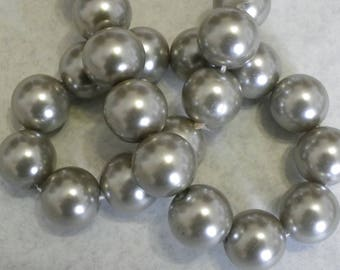15 beads 14 mm glass Pearl gray silver Pearl