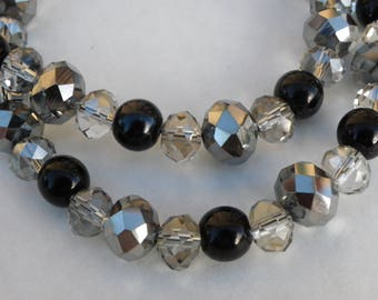 taupe gray and black crystal glass necklace with beads 10 mm and 8 mm 63 cm