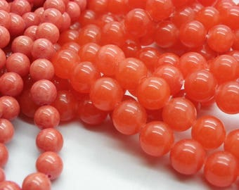 39 jade 10 mm coral coral orange a beautiful hand dyed with transparency