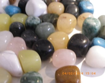 5 stones rolled semi precious assorted 16 mm 14 mm pink, green yellow brown